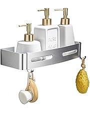 GERUIKE Mensola Doccia Mensola Bagno Mensola Porta Shampoo per la Doccia di Forma Triangolare con Adesivi e 4 Ganci in Alluminio a 2 Livelli