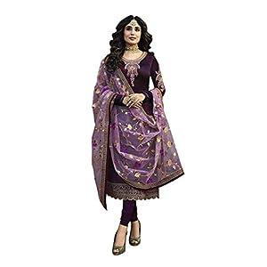 ARIA FABRICS Women's Satin & Georgette Semi-stitched Salwar Suit