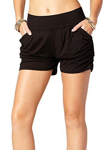 Premium Ultra Soft Harem High Waisted Shorts for Women with Pockets - Printed Patterns - Soild - Black - Small/Medium (0-10)