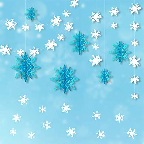 Frozen Themed Party Decorations, 3D White Snowflake Garland & Big 3D Hanging Snowflake Decorations & Snowflake Wall Sticker Value Kit for Christmas/Birthday Event/Home Decorations (Ice -