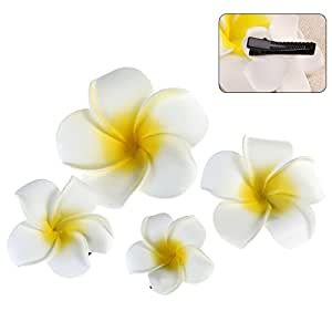 OULII Hawaii Flowers Hair Clips Bridal Barrette Tropical Beach Wedding Plumeria Flower Women Party Bridal Orchid Hairclip Hairpin Accessories
