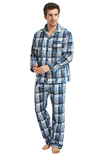 GLOBAL Mens Flannel Pajamas, 2-Piece Warm Pj Set