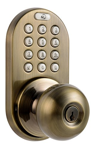 - MiLocks DKK-02AQ Electronic Touchpad Entry Keyless Door Lock, Antique Brass