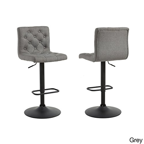 Modern Button Tufted Linen Upholstered Adjustable Height Swivel Bar Stool with Round Black Metal Base (Set of 2) - Includes Modhaus Living Pen (Gray) - Regency Set Bar Stool