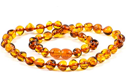 Baltic Amber Necklace for Adults + Amber Earrings - Headache, Migraine, Sinus, Arthritis, Carpal Tunnel, Nursing Pain Relief