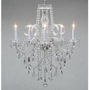 Authentic All Crystal Chandelier Chandeliers H30 X W24 Swag Plug in-Chandelier W 14 FEET of Hanging Chain and Wire