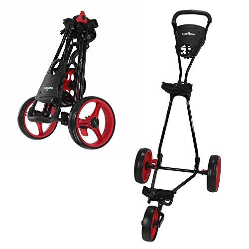 Caddymatic Golf Continental 3 Wheel Folding Golf Push Pull Cart Black Red