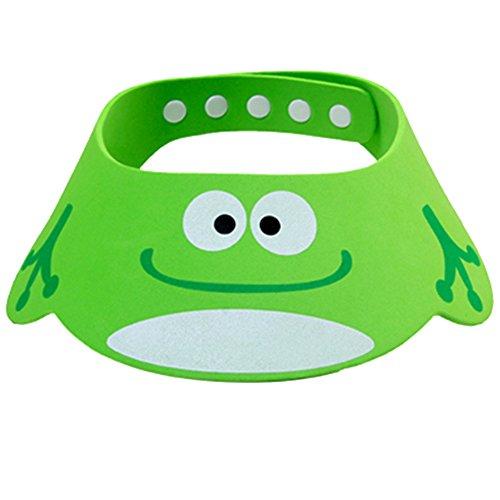 Frog Visor - Tobey Baby Kids Cartoon Cute Adjustable Frog Shower Cap Hat Bathroon Shampoo Bath Visor Thick (Green)