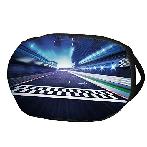 Fashion Cotton Antidust Face Mouth Mask,Man Cave Decor,Finish Line on Racetrack Motion Blur Motorsports Competition Stadium Image Decorative,Multicolor,for women & men ()