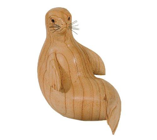 Robbe de madera sentado, - 20 cm madera, madera Escultura ...