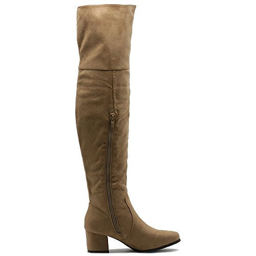 Ollio Frauen Schuh Span Stretch Faux Suede Overknee Falten Manschette Zip Up Low Heel Lange Stiefel Taupe