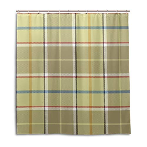 (Amanda Billy Charming Bright Plaid Stripes Natural Home Shower Curtain, Beaded Ring, Shower Curtain 72 x 72 Inches, Modern Decorative Waterproof Bathroom Curtains )