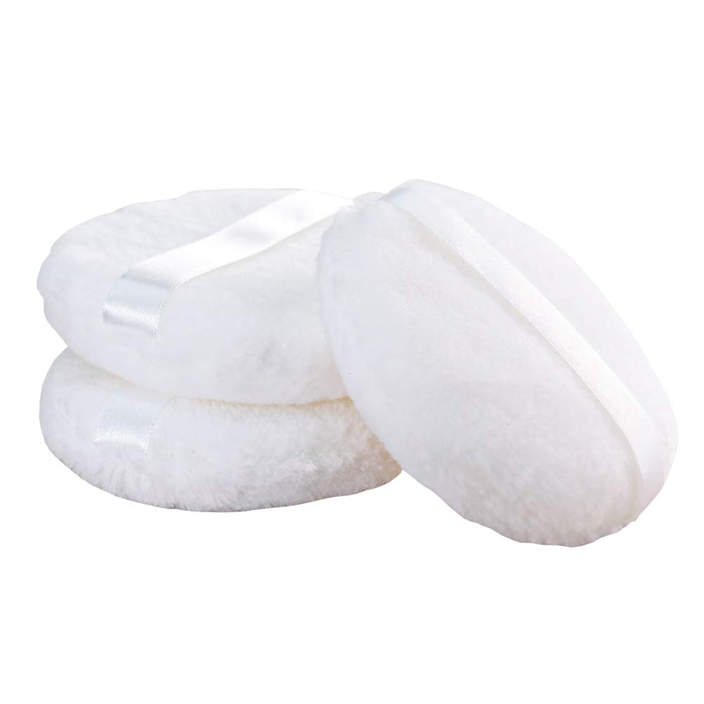 Joly Loose powder Puff, 4.12'' Large Body Puff W Ribbon (10.5cm) (3PCS)