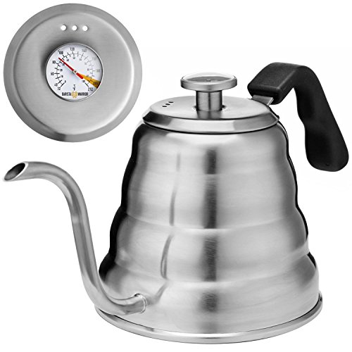 Teapot Drip (Pour Over Coffee Kettle with BUILT-IN THERMOMETER - Large 1.2L - Gooseneck Drip Coffee Kettle and Stainless Steel Stovetop Tea Pot)
