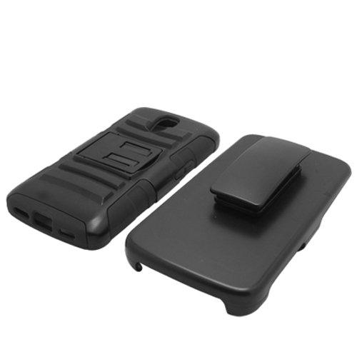 [SlickGearsTM] Black Heavy Duty Combat Armor Kickstand Case w/ Belt Holster for LG Volt LS740 (Sprint/Boost/Virgin Mobile) + Premium Screen Protector
