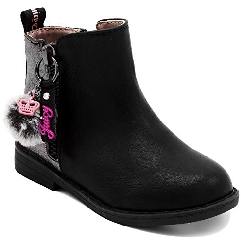 Juicy Couture Kids JC Lil Napa Girls Two-Tone Black & Pewter Zip-Up Ankle Boot 10 Toddler ()