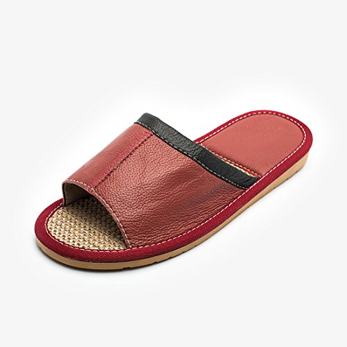 Sandal Slippers Indoor Home Women for Red Wine Leather Flat Maylian Summer Slide qRZEznS