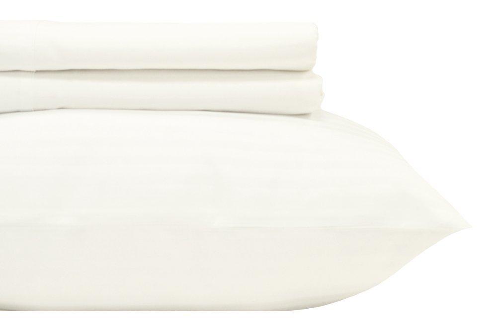 Royal Hotel's Stripe White 600-Thread-Count 4pc Queen Bed Sheet Set 100% Cotton, Sateen Stripe, Deep Pocket