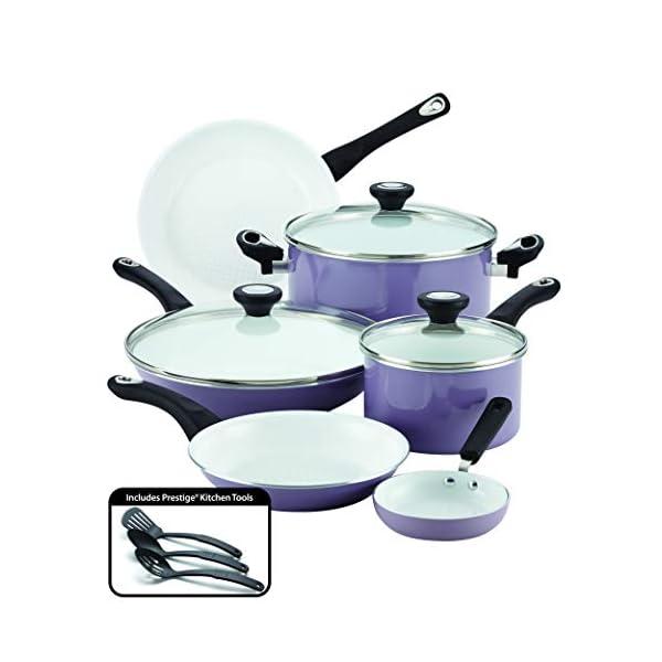 Farberware Ceramic Nonstick Cookware Pots and Pans Set, 12 Piece, Lavender 1