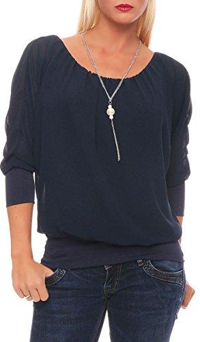 Haut ne Oversize Cha avec Femme Taille Loose 1133 Blouse bleu Malito fonc Tunique Unique ftqXxW