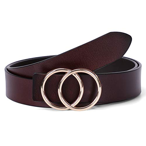 (WERFORU Fashion Women Leather Belt with Double O Ring Golden Buckle for Jeans)