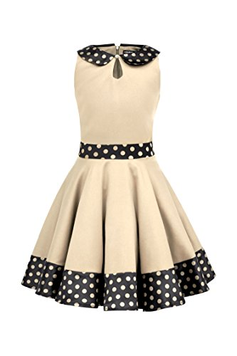 BlackButterfly Kids 'Zoey' Vintage Polka Dot 50's Girls Dress (Champagne, 11-12 YRS)]()