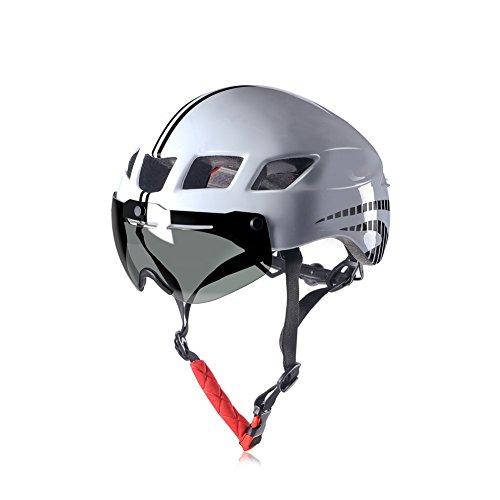 Anharluka Road/Mountain Bike Helmet with Detachable Magnetic Shield Visor (Goggle), for Multi-sport (White)