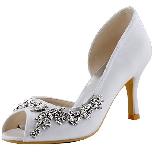 11768c6578bfdb Elegantpark HP1542 Women Peep Toe Rhinestones High Heel Satin Wedding  Bridal Shoes White US 8