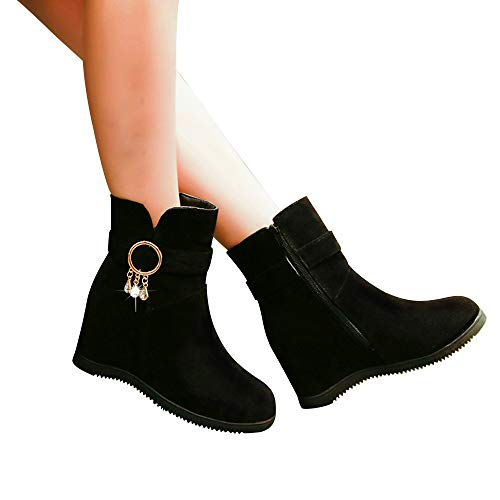 Cabeza Black Cuña Color Ante De Botas Bazhahei Bola Mujer Redonda Zipper Zapatillas Pelo Zapatos 2 Pure Botines Con Para Punta Gamuza Boots qaRFZw