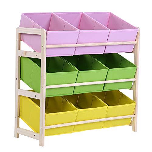 Zerone 3-Tier Children Multi-Color Deluxe Toy Organizer Baby Kids Toy Wooden Shelf Storage Rack with 9 Fabric Storage Bins