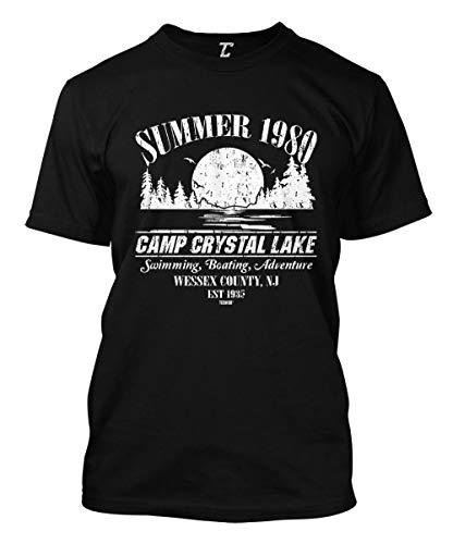 Summer 1980 Camp Crystal Lake Men's T-Shirt (Black, Large) (Best Jason Voorhees Kills)