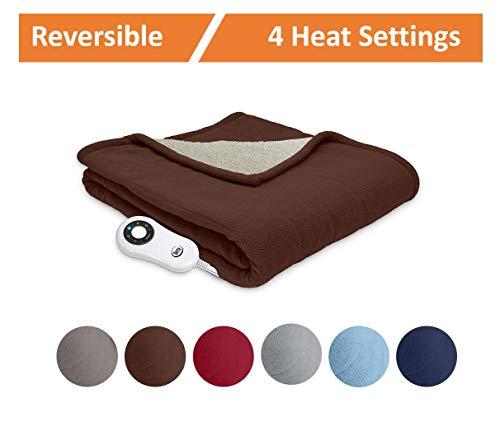 Serta | Reversible Sherpa/Fleece Heated Electric Throw Blanket, Standard, (Chocolate)