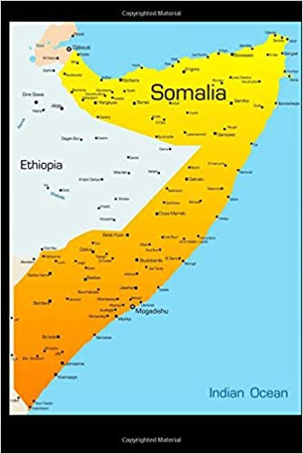 Map of Somalia Journal: 150 page lined notebook/diary: Cool Image ...