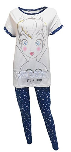 Tinkerbell Disney Fairy Never Grow Up Ladies 2-Piece Pajama Set US -