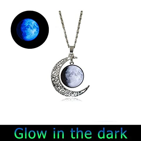 Glowlala® glow Custom Birth Moon Necklace Personalised Moon Phase Necklace Glass Dome full moon necklace Pendant Birthday (Moon Phase Pendant)