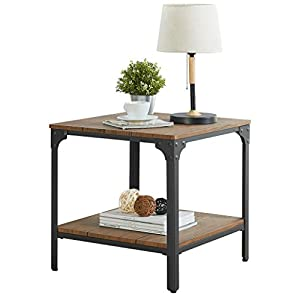 "Homissue 21.7""Height Industrial Square Sofa Side Table, Metal Frame Accent End Table with Storage Shelf for Living Room…"