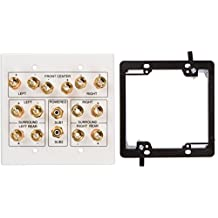 Buyer's Point 7.1 Speaker Wall Plate, Premium Quality Gold Plated Copper Banana Binding Post Coupler Type, with 2 Gang Low Voltage Mounting Bracket Device, for 7 Speakers and 2 RCA Jack for Subwoofer