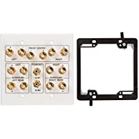 Buyers Point 7.1 Speaker Wall Plate, Premium Quality Gold Plated Copper Banana Binding Post Coupler Type, with 2 Gang Low Voltage Mounting Bracket Device, for 7 Speakers and 2 RCA Jack for Subwoofer