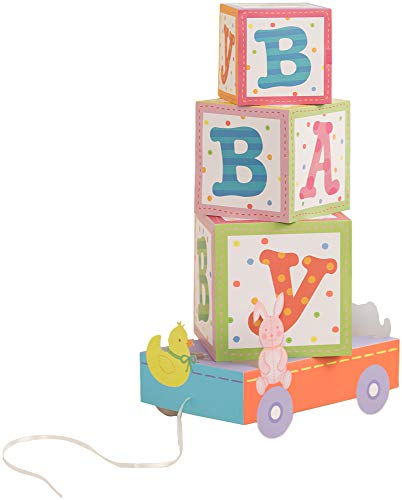 Simplicity Paper Building Blocks Baby Shower Centerpiece, 8'' L x 5'' W x 14.5'' H]()