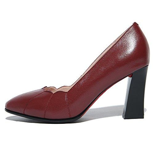 Nine Seven Cuero Moda Puntiagudos Tacones de Vestir de Tacón Grueso para Mujer vino rojo