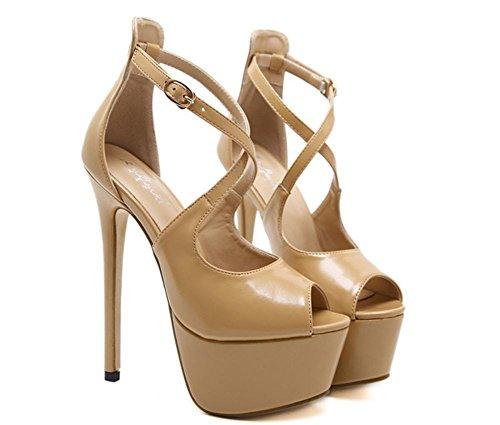 Women's Ladies Sexy Sandals Stiletto High Heel Shoes Platform Peep Toe Buckle Cross Straps Black Party Dress Nightclub APRICOT A1vuVAB
