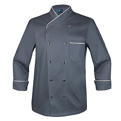 (10oz apparel Twill Snap Front Chef Coat Long Sleeve Charcoal/White XXL)