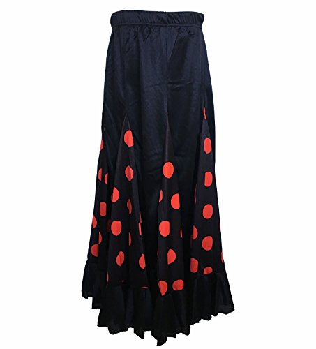 Dots Spanish - La Señorita Spanish Flamenco Dance Skirt Children Black red dots (Size 12-9/10 Years)