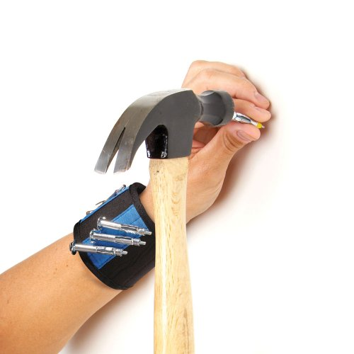 Magnetic Cuff (Matthew Magnetic Tool Cuff Wrist Band - Blue - Holds Nails, Bolts, Screws)