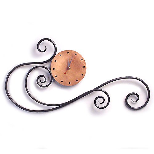 Contemporary Scroll Iron Wall Clock with Copper Face, Hand-Forged in the USA, 24
