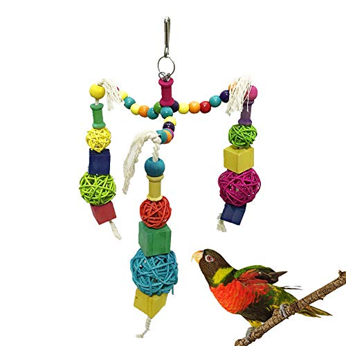 PIVBY Small Bird Toy Wooden Block Parrot Cage Chewing Hanging Toys for Small and Medium Cockatoo African Grey Cockatiel Amazon Birds