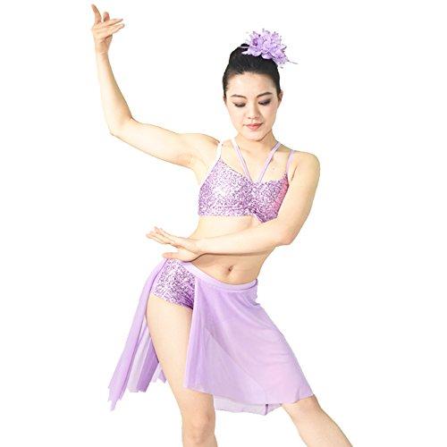 MiDee 2 Pieces Camisole Sequins Asymmetrical Skirt Lyrical Dress Dance Costume (SA, Lilac) (Dance Costumes For Competition Lyrical)
