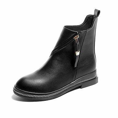 GLL&xuezi Damen Stiefel Springerstiefel formale Schuhe PU Herbst Normal Kleid Party & Festivität Walking Reißverschluss Niedriger Absatz Schwarz2,5 black