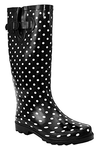 A&H Footwear Ladies Womens New Wide Calf Adjustable Snow Rain Mud Festival Waterproof Wellington Boots Wellies UK 3-8 (Maximum Calf Width 42 cm) (UK 6, Black/White Polka Dot)