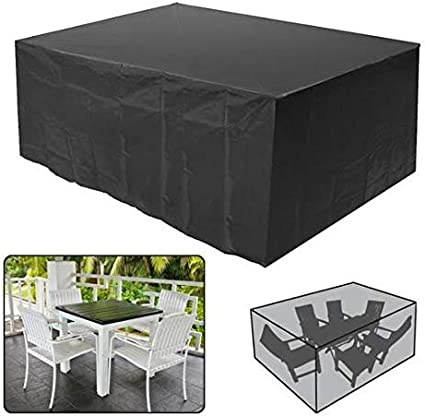 Marbeine Funda de protección Impermeable para Muebles de jardín, Mesa o Banco Exterior, Cubierta Negra, 242 x 162 x 100 cm: Amazon.es: Jardín